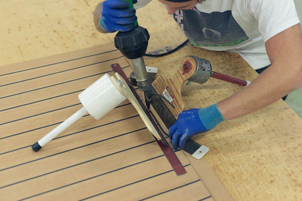 Flexiteek panels being manufactured