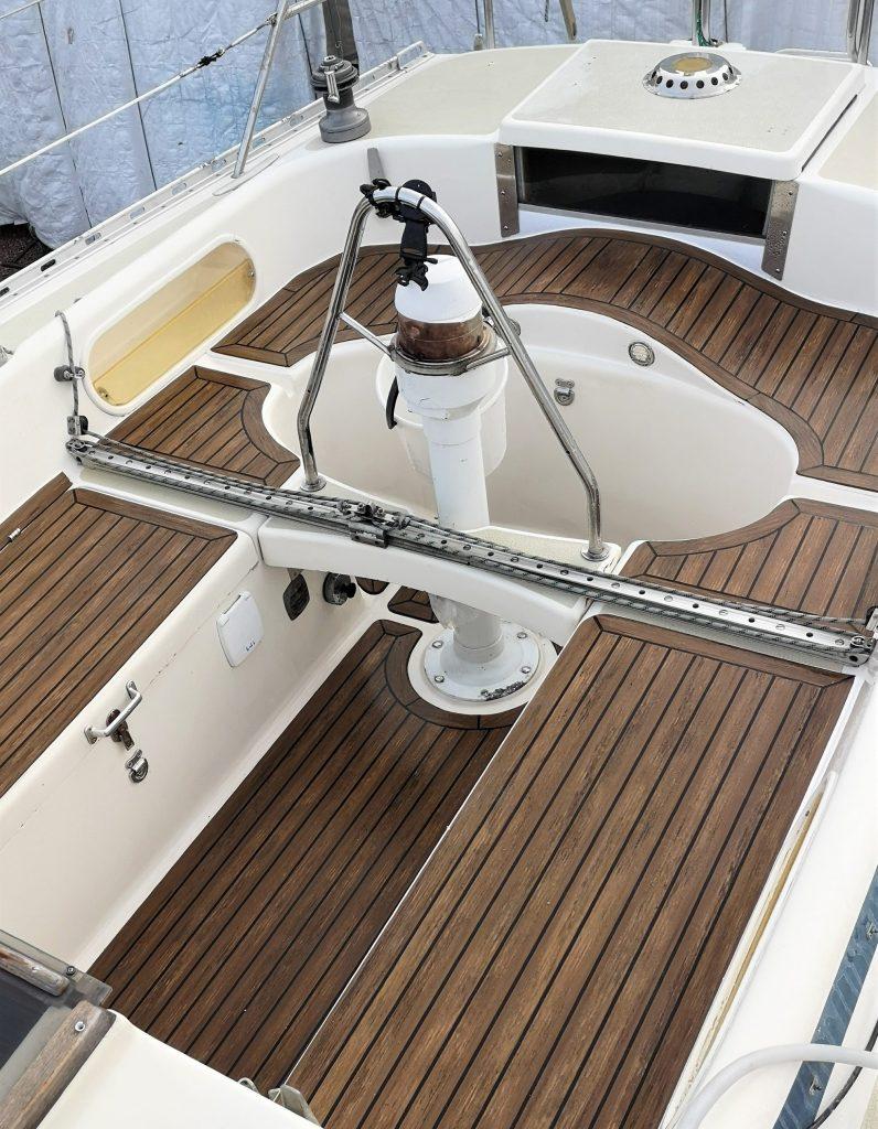 Sirena 38 with a Flexiteek 2G deck in Walnut with black caulking.